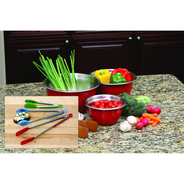 6-piece Red Stainless Steel Bowl and Tongs Set
