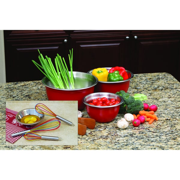 ExcelSteel Red Bowl and Whisk Set