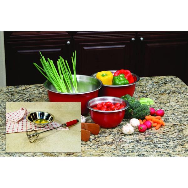 Red Mixing Bowl and Mixer Set