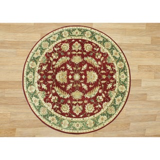 Alliyah Handmade Burgundy New Zealand Blend Wool Rug (10' Round)