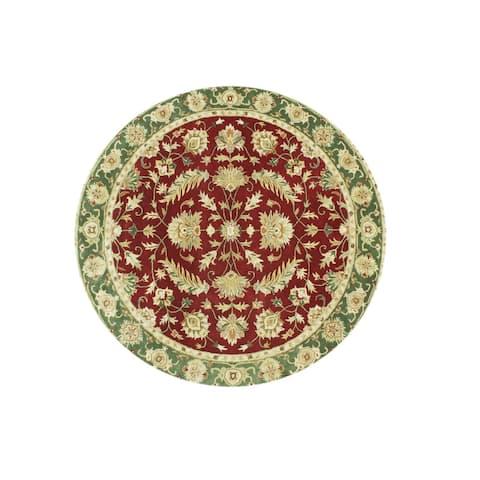 Alliyah Handmade Burgundy New Zealand Blend Wool Rug (10' Round) - 10' x 10' Round