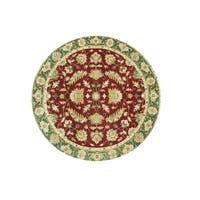 Alliyah Handmade Burgundy New Zealand Blend Wool Rug (10' Round) - 10' x 10'
