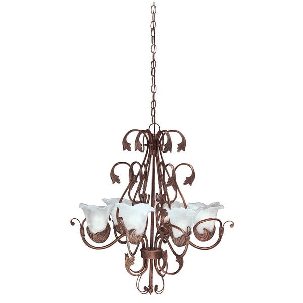 Transitional 6-light Antique Iron Finish Chandelier