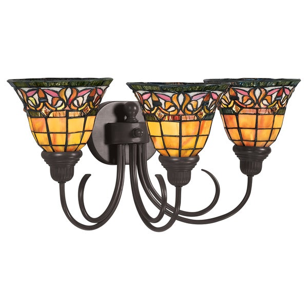 3 Country Style Pendant Vanity Light Fixture: Shop Tiffany Style 3-light Bronze Bath Or Vanity Light