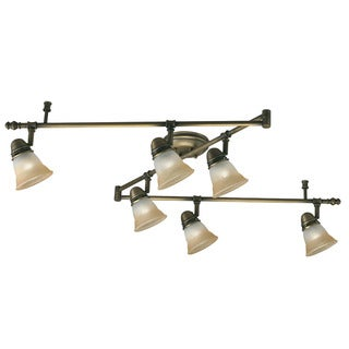 Transitional 6-light Antique Brass Rail Style Light Fixture