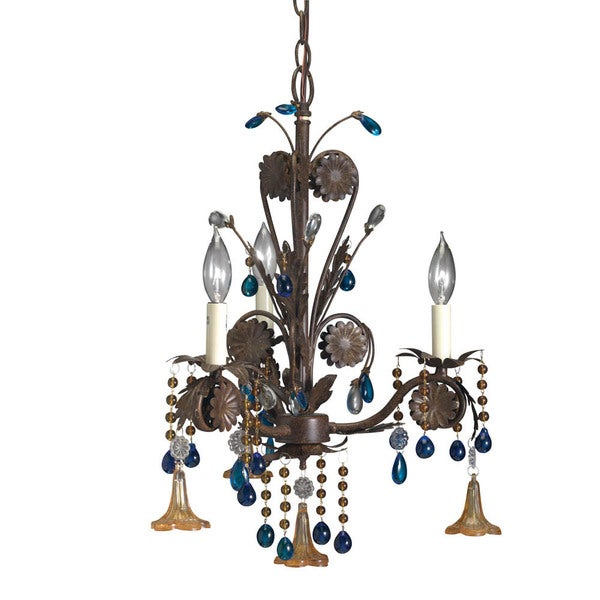 Transitional 3-light Bronze Mini Chandelier with Amber and Topaz Drops