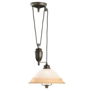 Transitional 1-light Brass Pull-down Pendant Light Fixture