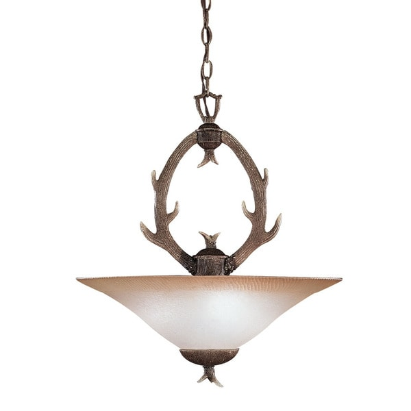 Lodge Design 3-light Buckhorn Pendant light fixture
