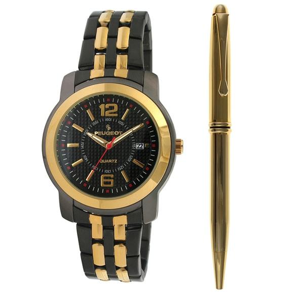 Peugeot Men's Two-tone Steel Watch and Pen Set
