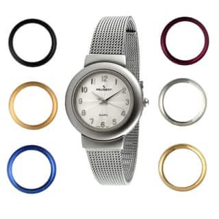 Peugeot Women's Steel Interchangeable Bezel Watch https://ak1.ostkcdn.com/images/products/7579298/7579298/Peugeot-Womens-Steel-Interchangeable-Bezel-Watch-P15006774.jpeg?impolicy=medium