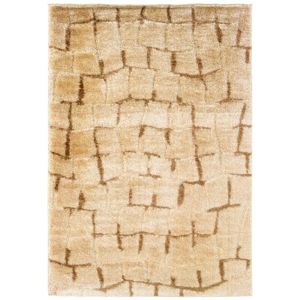 Somette Shadow Magic Labyrinth Wheat Area Rug (7'10 x 11'2)