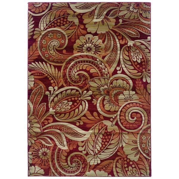 "Somette Millennium Floral Cinnamon Curls Area Rug (5'3"" x 7'6"")"