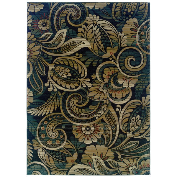 """Somette Millenium Floral Play Shades Olive Area Rug ( 7'10"""" x 11'2"""")"""