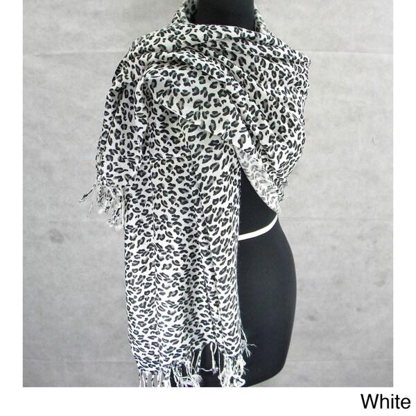 Animal Print Scarf/ Shawl with Fringe