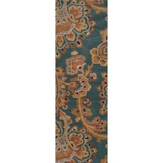Hand-tufted Atoka Green Rug (2'6 x 8')