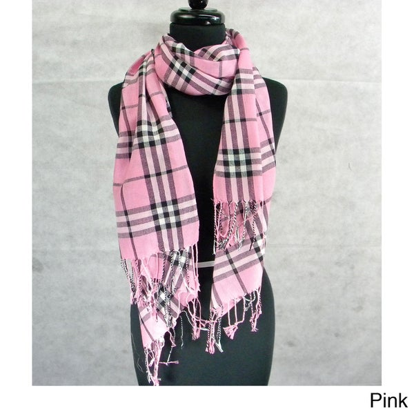 Fashion Scarf Pashmina Medium Plaid with Fringe