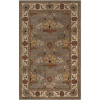 Hand-tufted Grey Traditional Bordered Osmaniye Wool Area Rug (5' x 8')