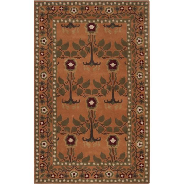 Hand-tufted Orange Traditional Bordered Adiyaman Wool Rug (5' x 8')
