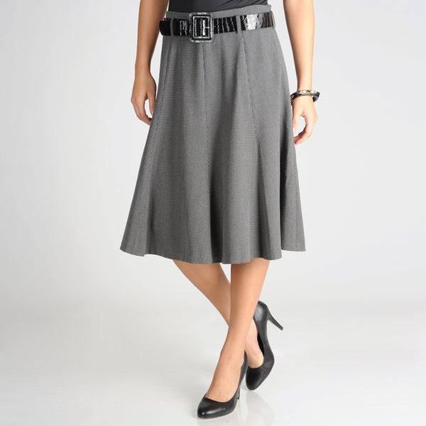 Grace Elements Women's Houndstooth A-Line Skirt with Patent Belt