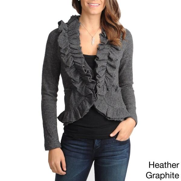 Grace Elements Women's Ruffle-trim Wool Sweater Jacket