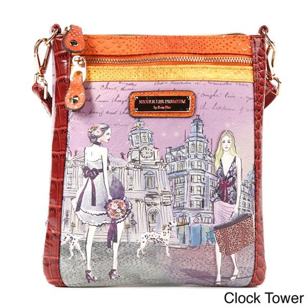 Nicole Lee 'Layla' Midnight in Paris Print Messenger Bag