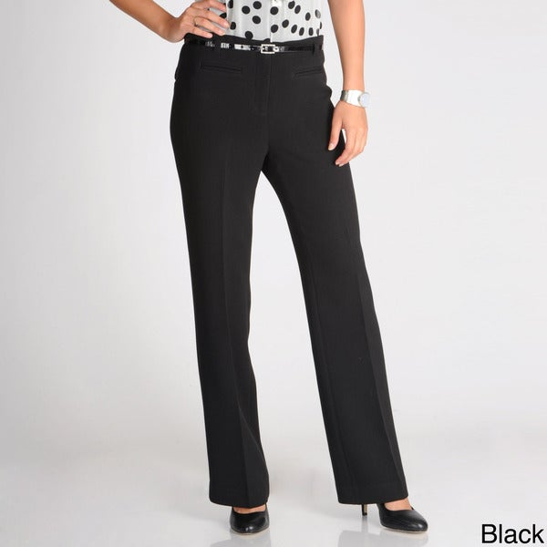 Focus 2000 Women's Straight Leg Belted Dress Pants