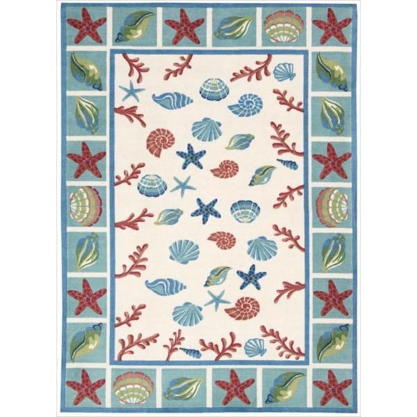 Shoreline Seashell and Starfish Ivory Polyester Rug (2'6 x 4')