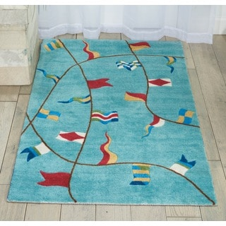 Shoreline Nautical Flag Aqua Polyester Rug (2'6 x 4')
