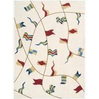 Shoreline Nautical Flag Ivory Polyester Rug - 2'6 x 4'