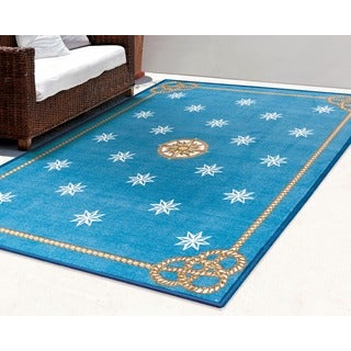 Shoreline Nautical Star Blue Polyester Rug (2'6 x 4')