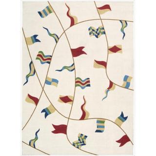 Shoreline Nautical Flag Ivory Polyester Rug (4' x 6')
