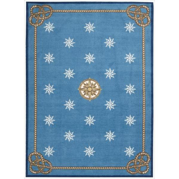 Shoreline Nautical Star Blue Polyester Rug (5' x 7')