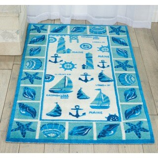 Shoreline Lighthouse and Boat Ivory/ Blue Polyester Rug (5' x 7')
