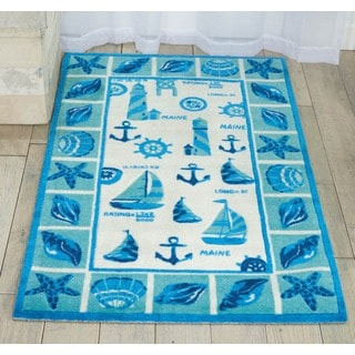 Shoreline Lighthouse and Boat Ivory/ Blue Polyester Rug (8' x 10')