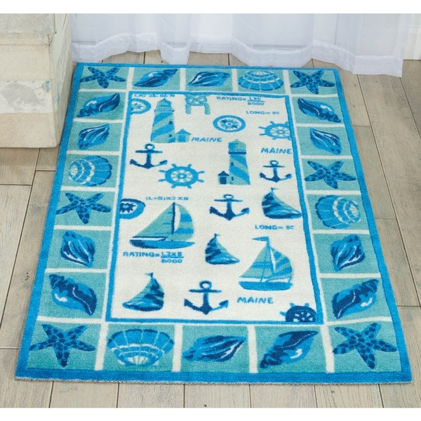 Shoreline Lighthouse and Boat Ivory/ Blue Polyester Rug (8' x 10')