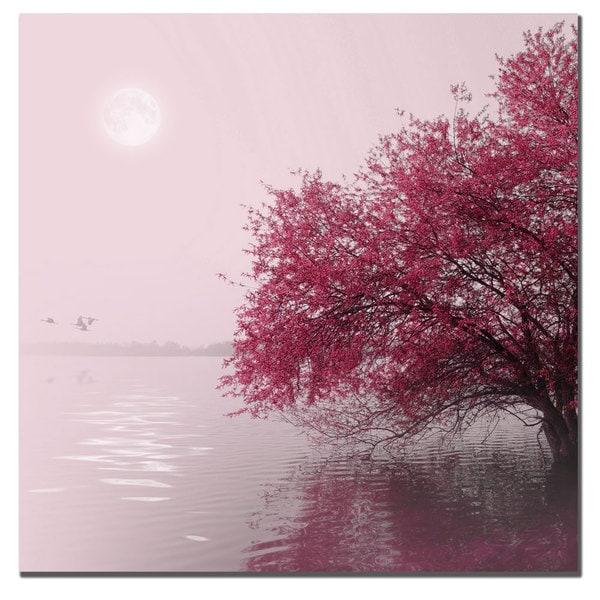 Philippe Sainte-Laudy 'Full Moon on the Lake' Canvas Art