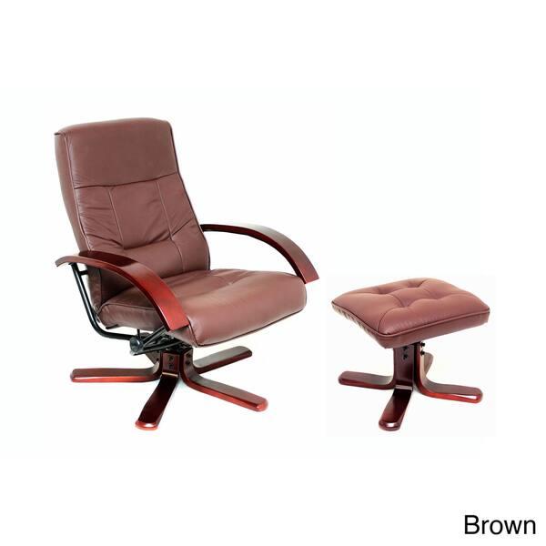 Terrific International Caravan Faux Leather Swivel Rocker Chair And Ottoman Set Short Links Chair Design For Home Short Linksinfo