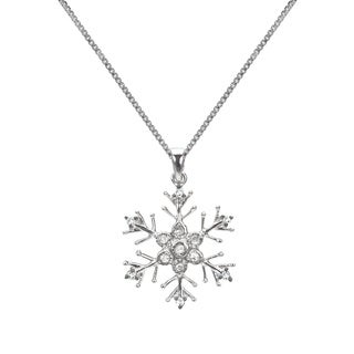 1/10ct TDW Blue or White Diamond Snowflake Necklace