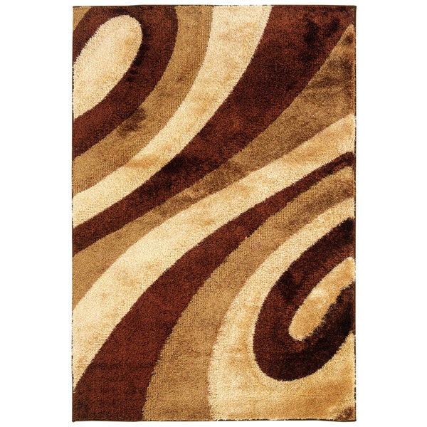 Somette Shadow Magic KopiLuwak Swirled Area Rug (5'3 x 7'6)