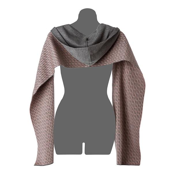Fendi Grey Wool Zucchino Print Hooded Scarf