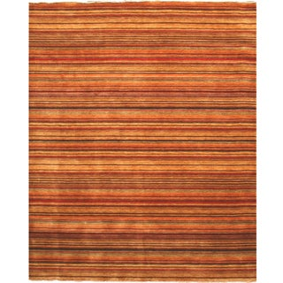 Handmade Wool Transitional Stripe Lori Toni Rug (10' x 14') - 10' x 14'