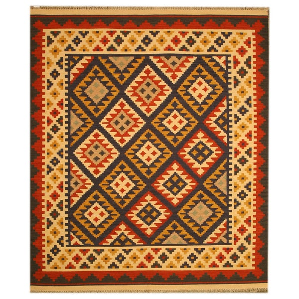 Shop Handmade Wool Blue Transitional Tribal Keysari Kilim