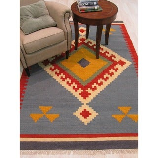 Handmade Wool Blue Transitional Tribal Keysari Kilim Rug - 5' x 8'