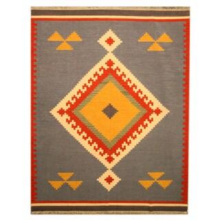 EORC Handmade Wool Blue Keysari Kilim Rug (5' x 8')