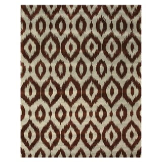 Hand-tufted Wool Brown Contemporary Abstract Ikat Rug (5' x 8')