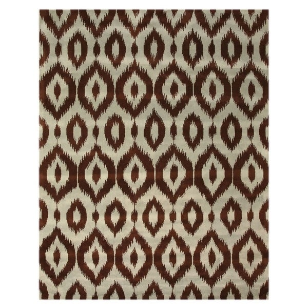 Hand-tufted Wool Brown Contemporary Abstract Ikat Rug (5' x 8') - 5' x 8'