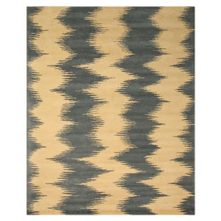 Hand-tufted Wool Ivory Contemporary Abstract Denim Zebo Rug (5' x 8')