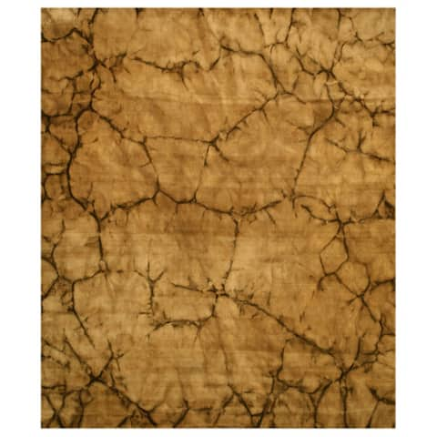 Handmade Wool Brown Contemporary Abstract Dip Dyed Rug - 4' x 6'