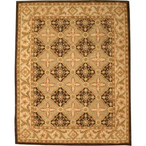 "Hand-tufted Wool Brown Traditional Oriental Khyber Rug - 7'9"" x 9'9"""