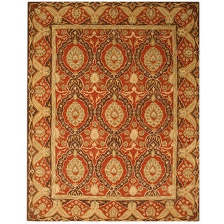 Hand-tufted Wool Red Traditional Oriental Khyber Rug (7'9 x 9'9)
